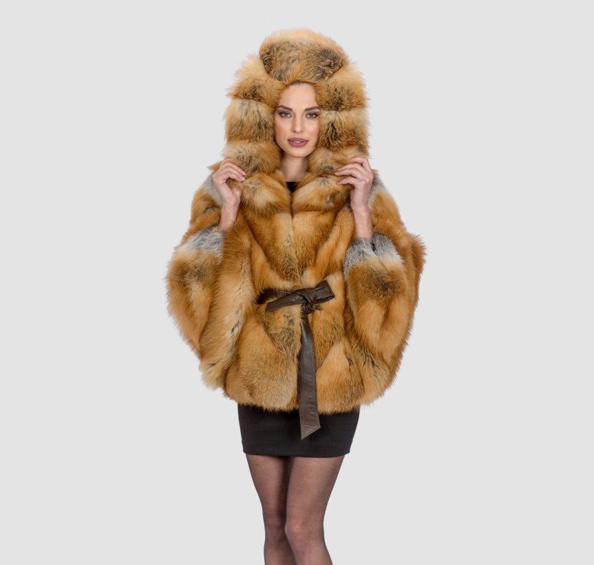 Fox Fur Cape With Hood