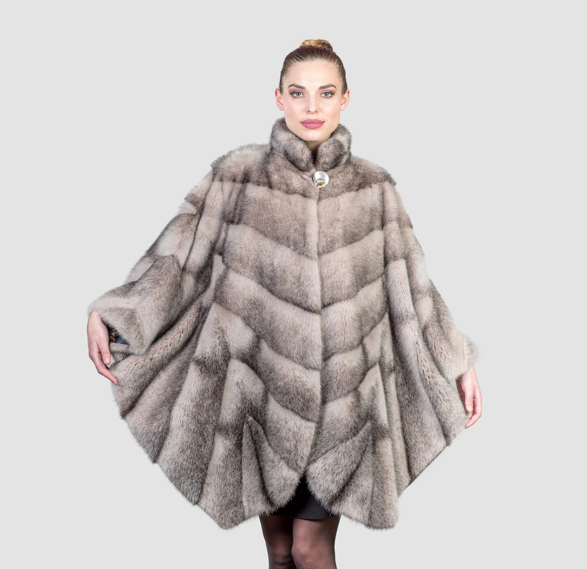 Black Cross Mink Fur Cape. 100% Real Fur Coats and Accessories. for Sable Fur Cape  104xkb