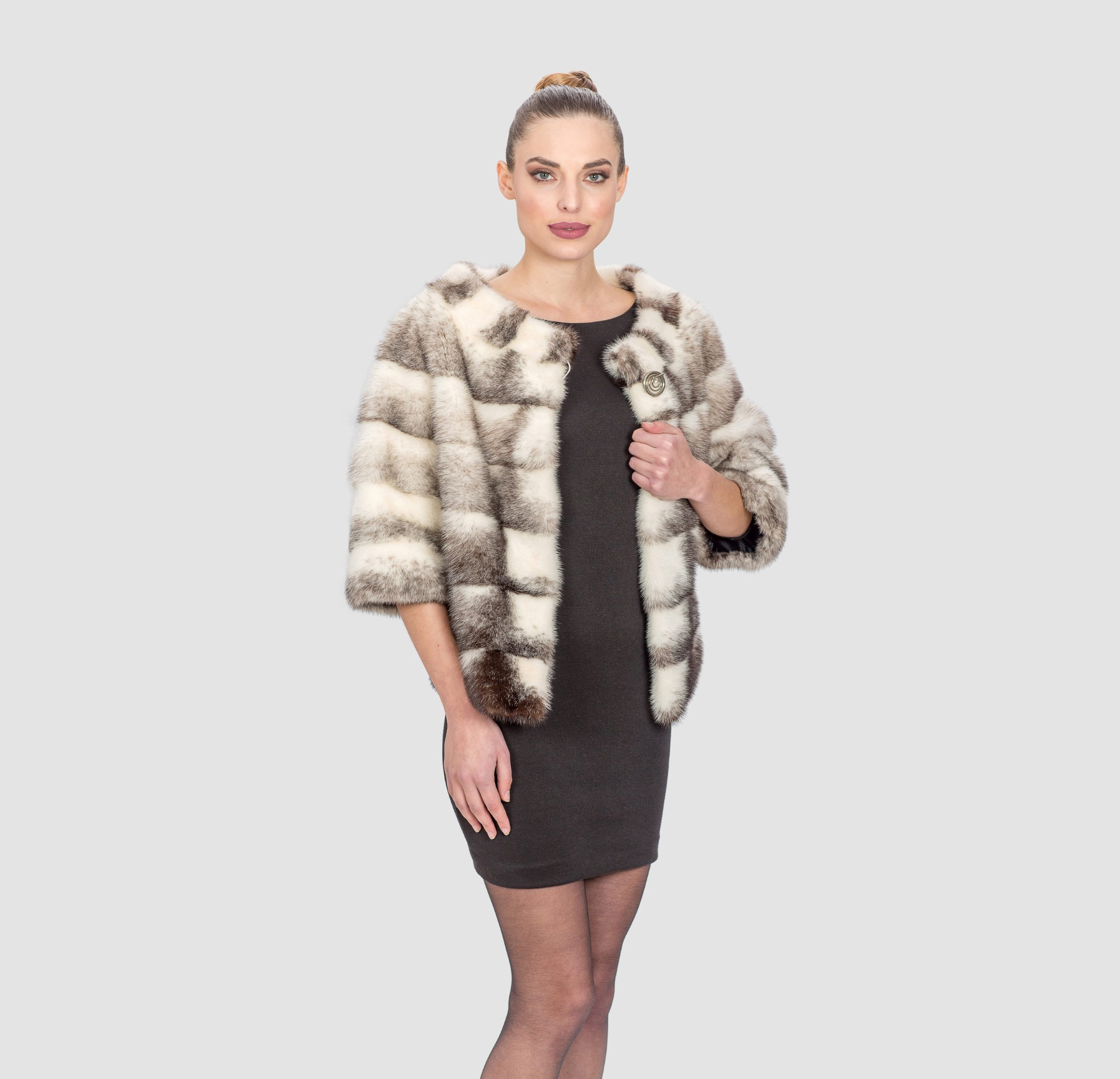 Black Cross Mink Fur Short Jacket. 100% Real Fur Coats and ...