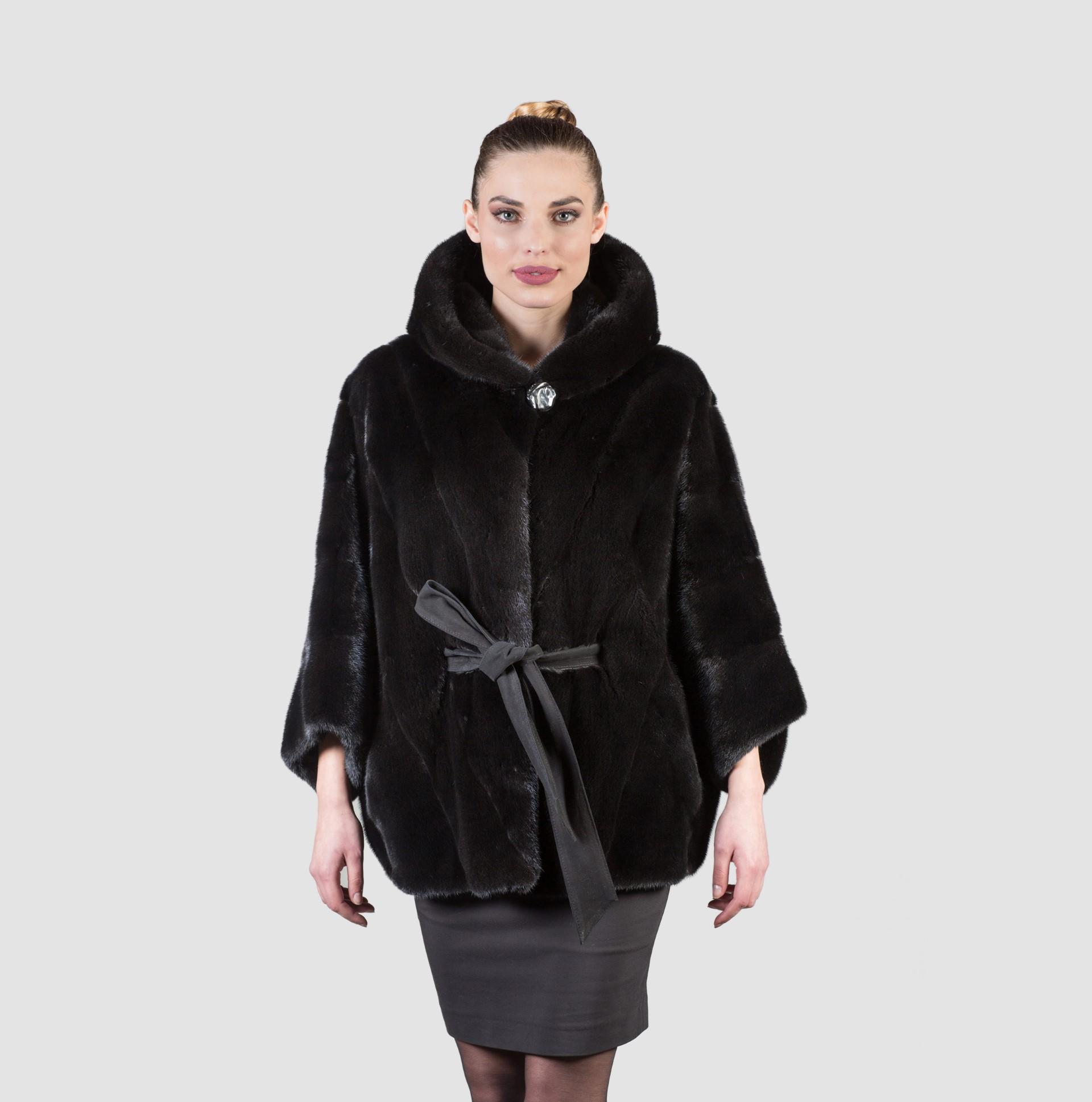 Black Mink Fur Jacket With Hood - 100% Real Fur Coats - Haute Acorn