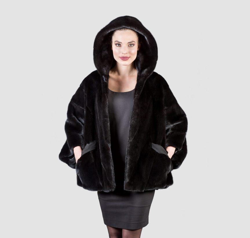 black mink fur jacket with hood haute acorn