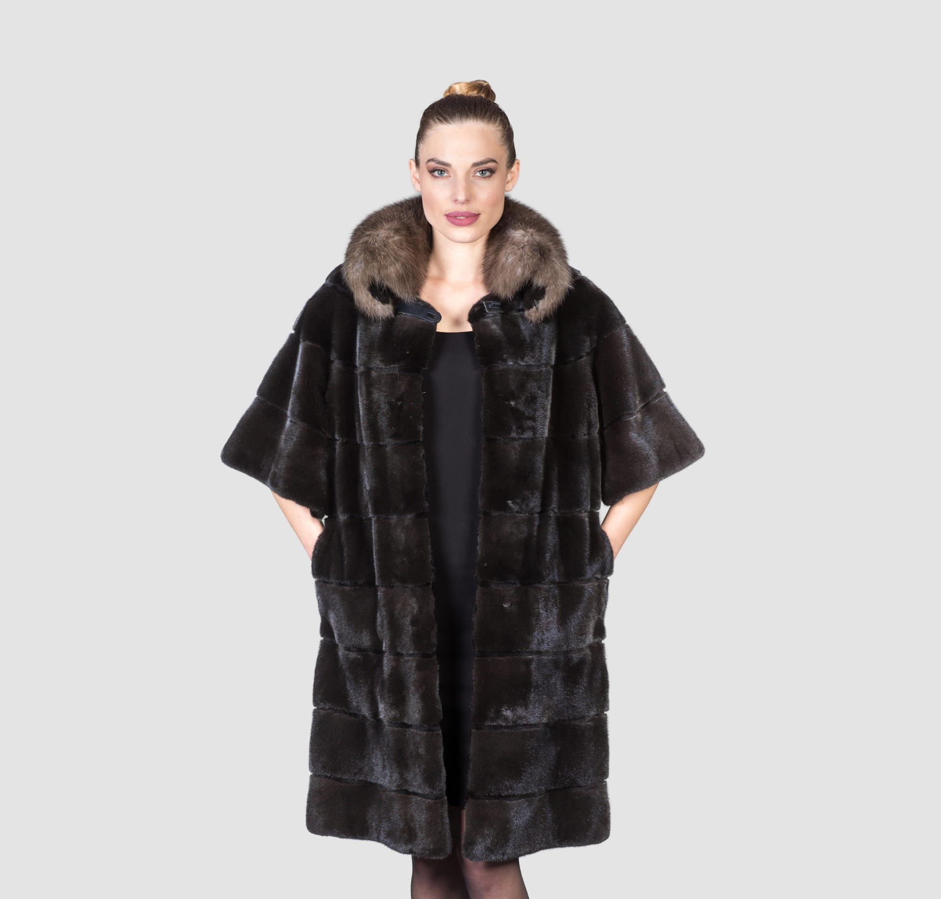 Black Mink Fur Coat With Sable Collar - Haute Acorn