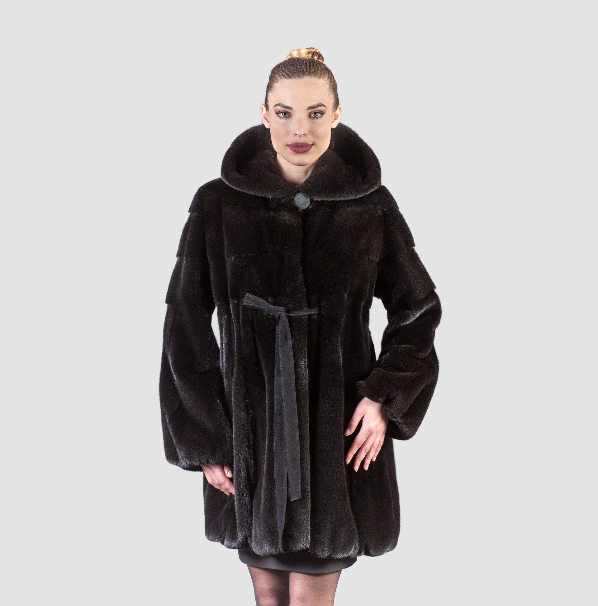 Blackglama Mink Fur Coat With Hood - Real Fur Coats , Vests ...