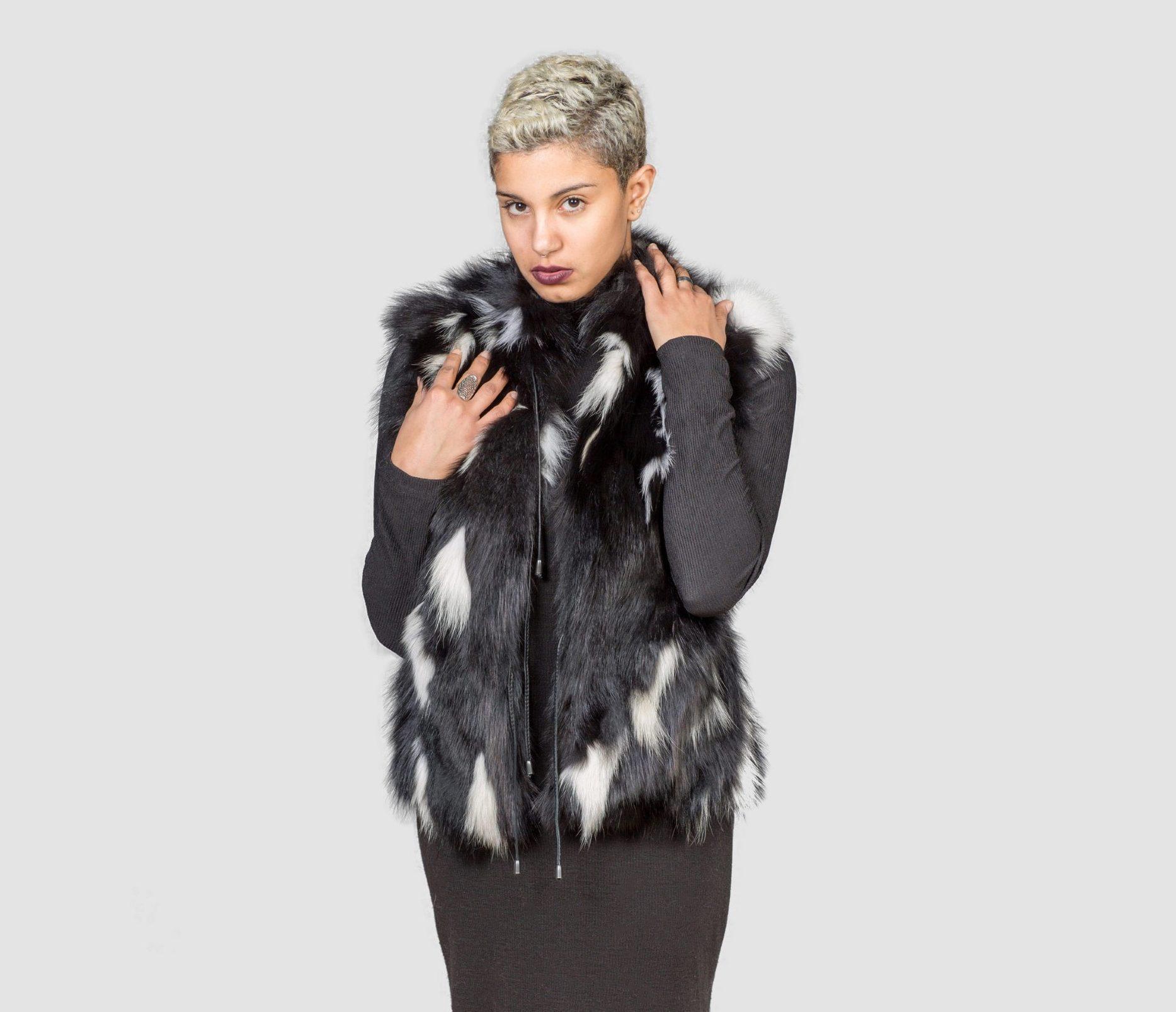 Black Fox Fur Vest With White Details - Real Fur Coats , Vests ...