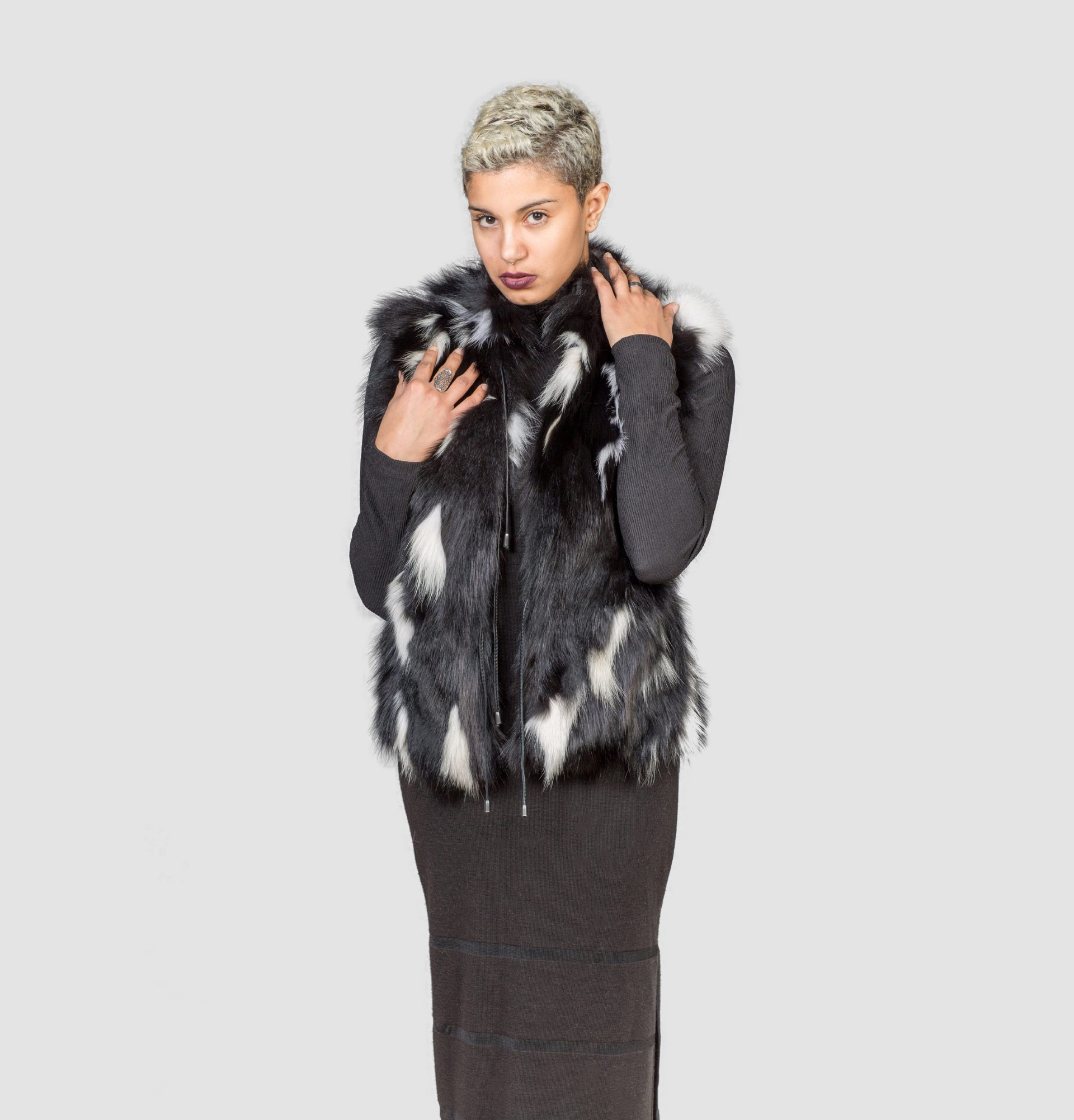 Black and White Jacquard Vest with Fur Collar. $ Heather Grey Comfy Vest with Side Pockets. $ Cherry Red and Black Plaid Open Drape Vest. $ Charcoal Plaid Moto Vest with Fur and Zipper Detail. $ Mustard Hidden Zipper Vest with Side Pockets. $