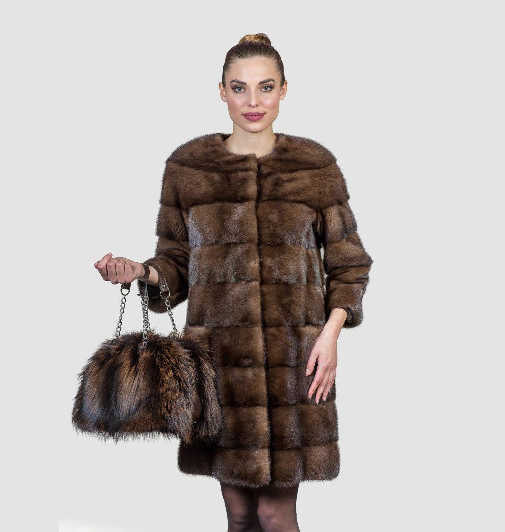 long mink fur coat jacketin