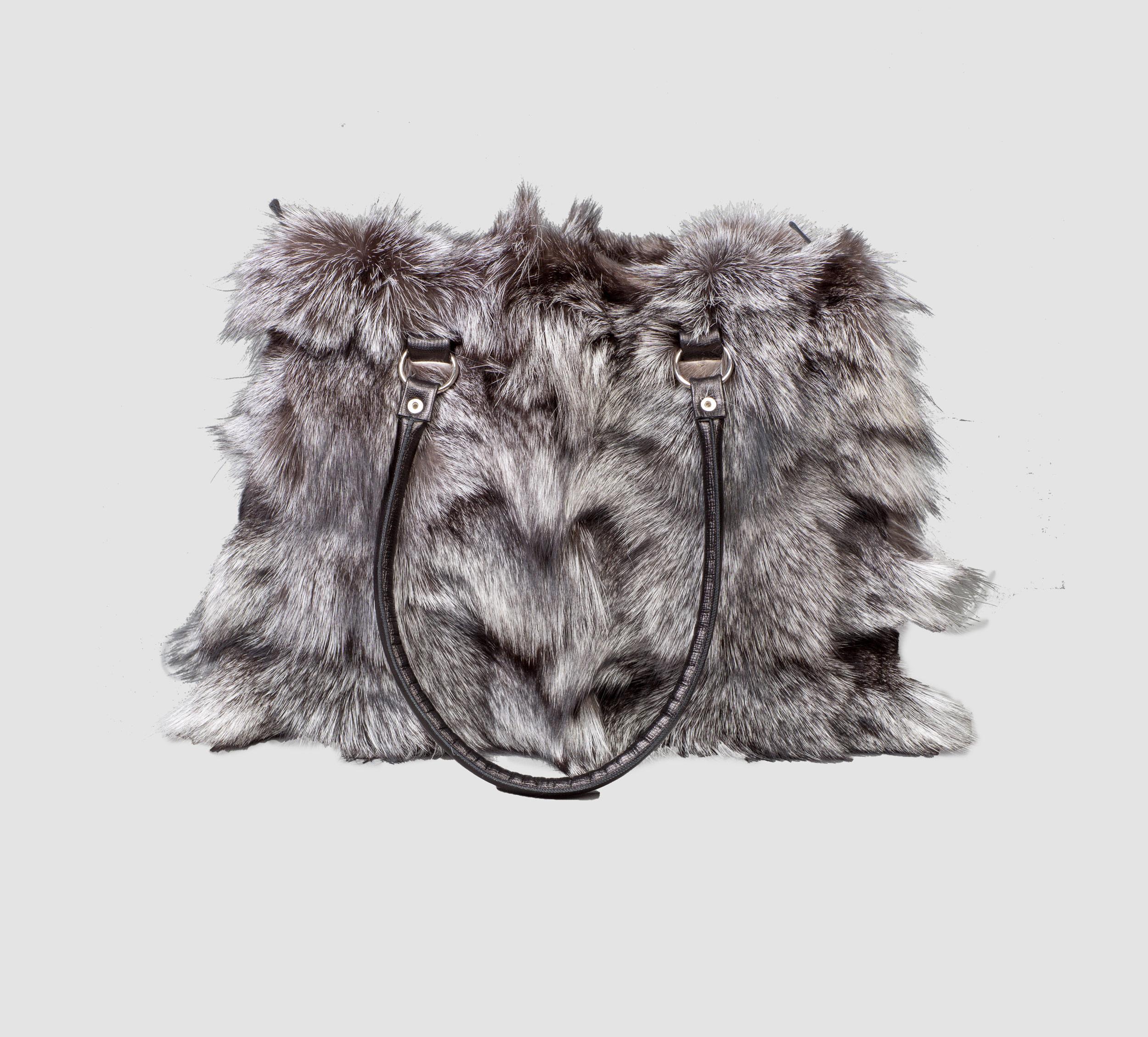 Silver Fox Fur Handbag
