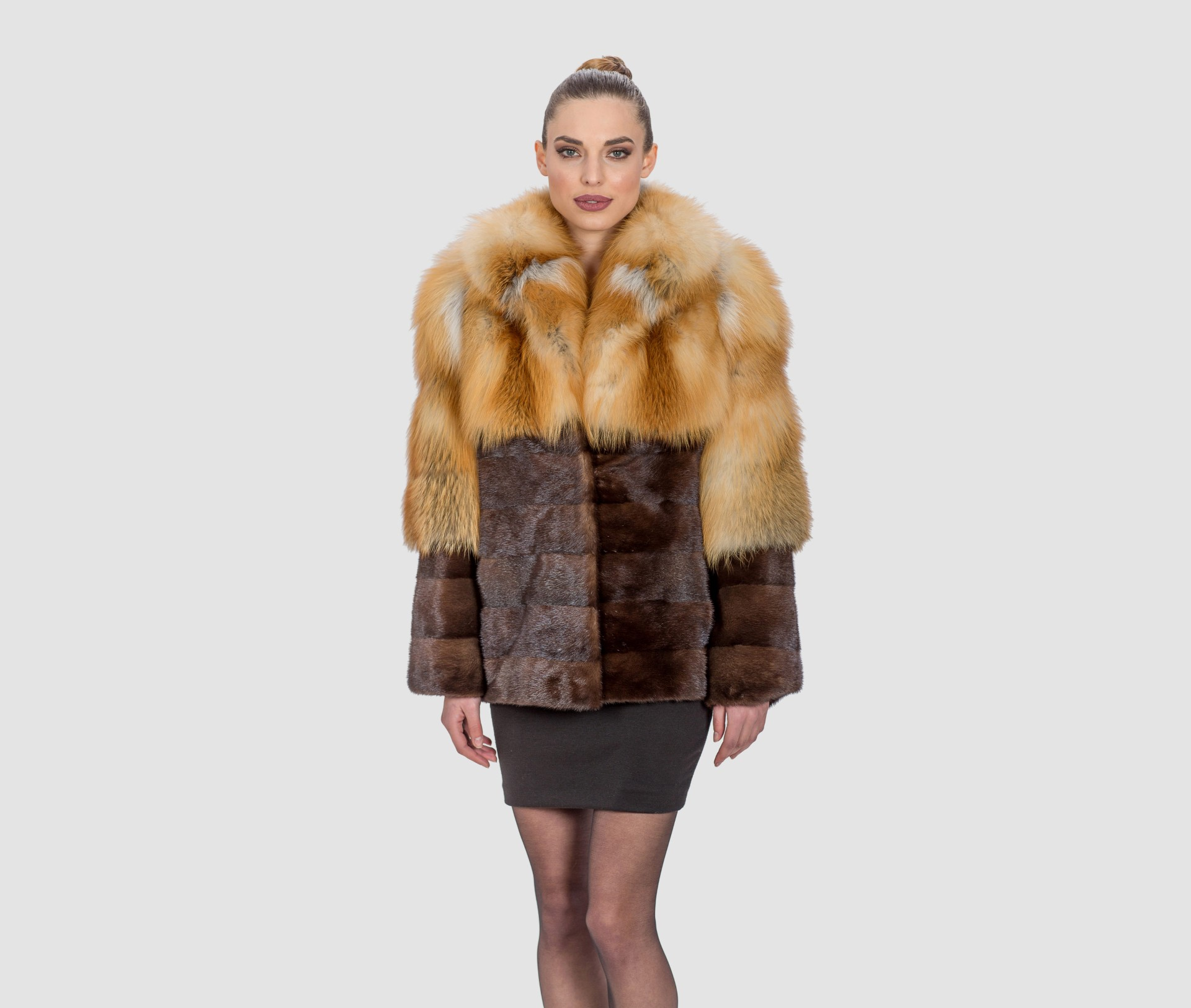 Fox and Mink Fur Jacket. 100% Real Fur Coats and Accessories.