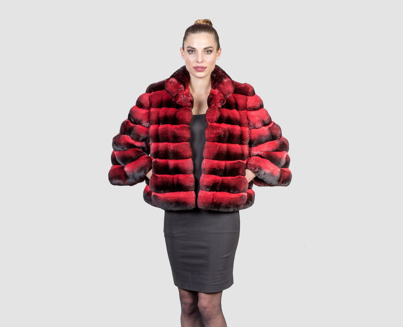 Exclusive Chinchilla Red Fur Jacket - Real Fur Coats , Vests ...