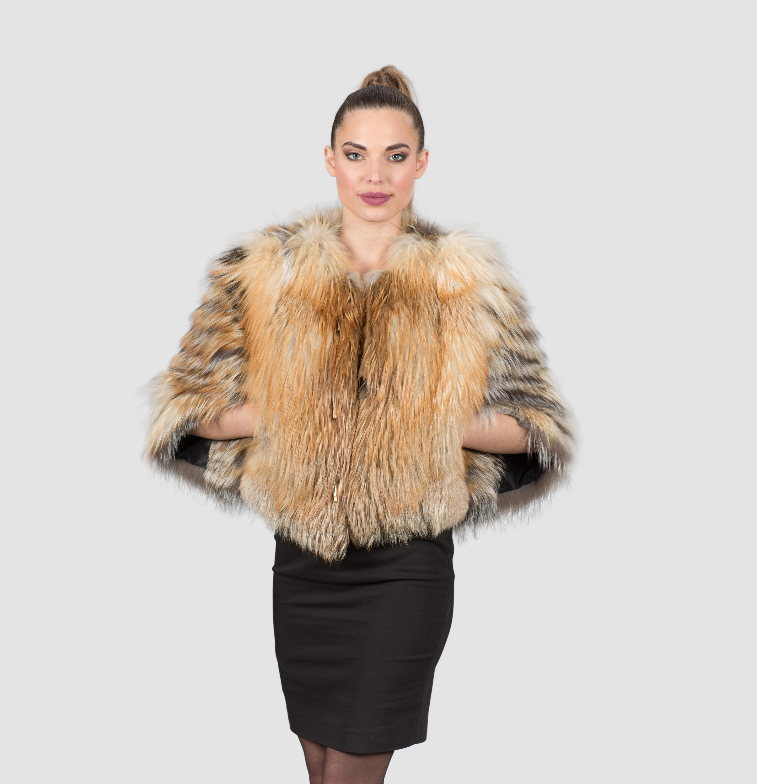 Silver-Gold Fox Fur Jacket. 100% Real Fur Coats and Accessories.