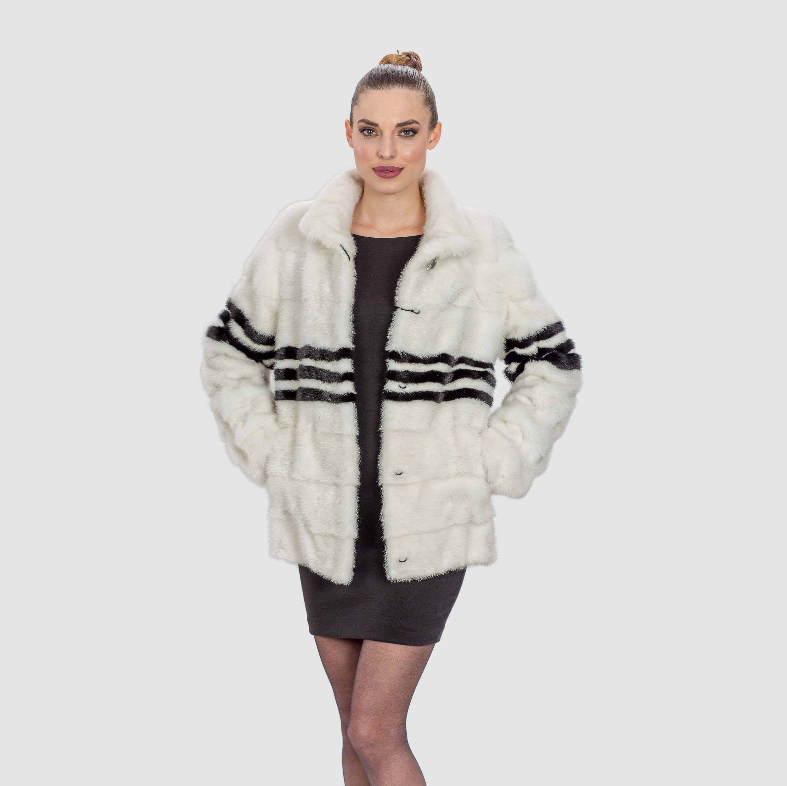 White Mink Fur Jacket. 100% Real Fur Coats and Accessories.