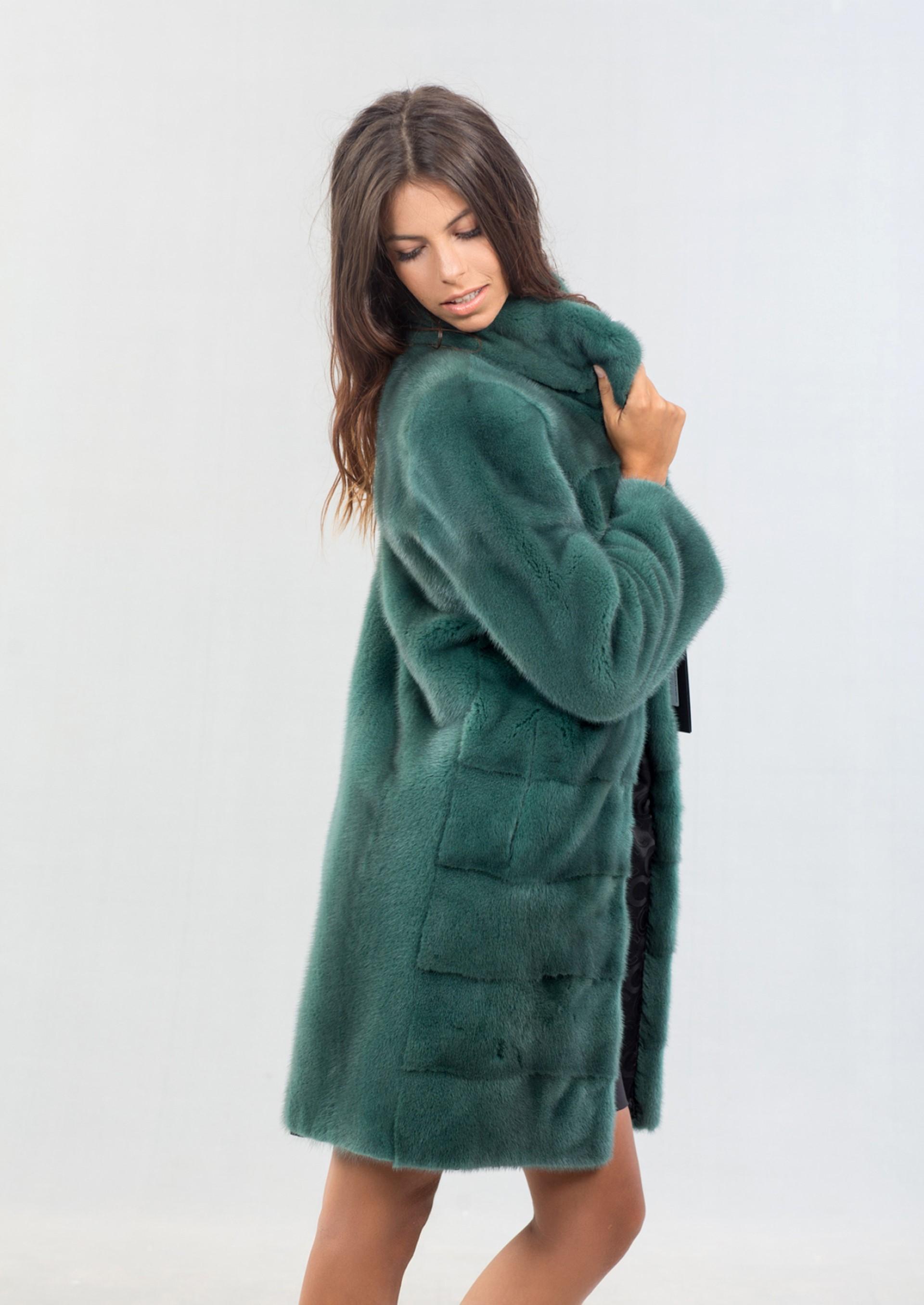 Green Nafa Mink Fur Jacket 100 Real Fur Coats And
