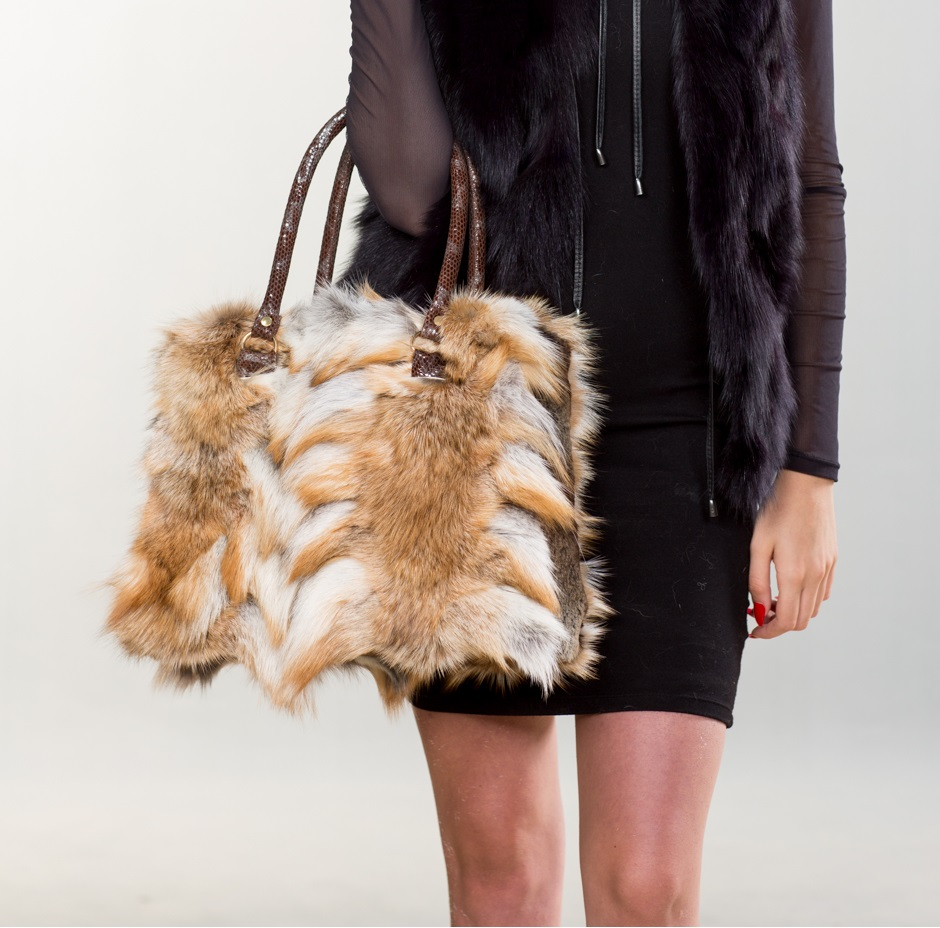 Red And White Fox Fur Handbag I 100 Real Fur Bags By