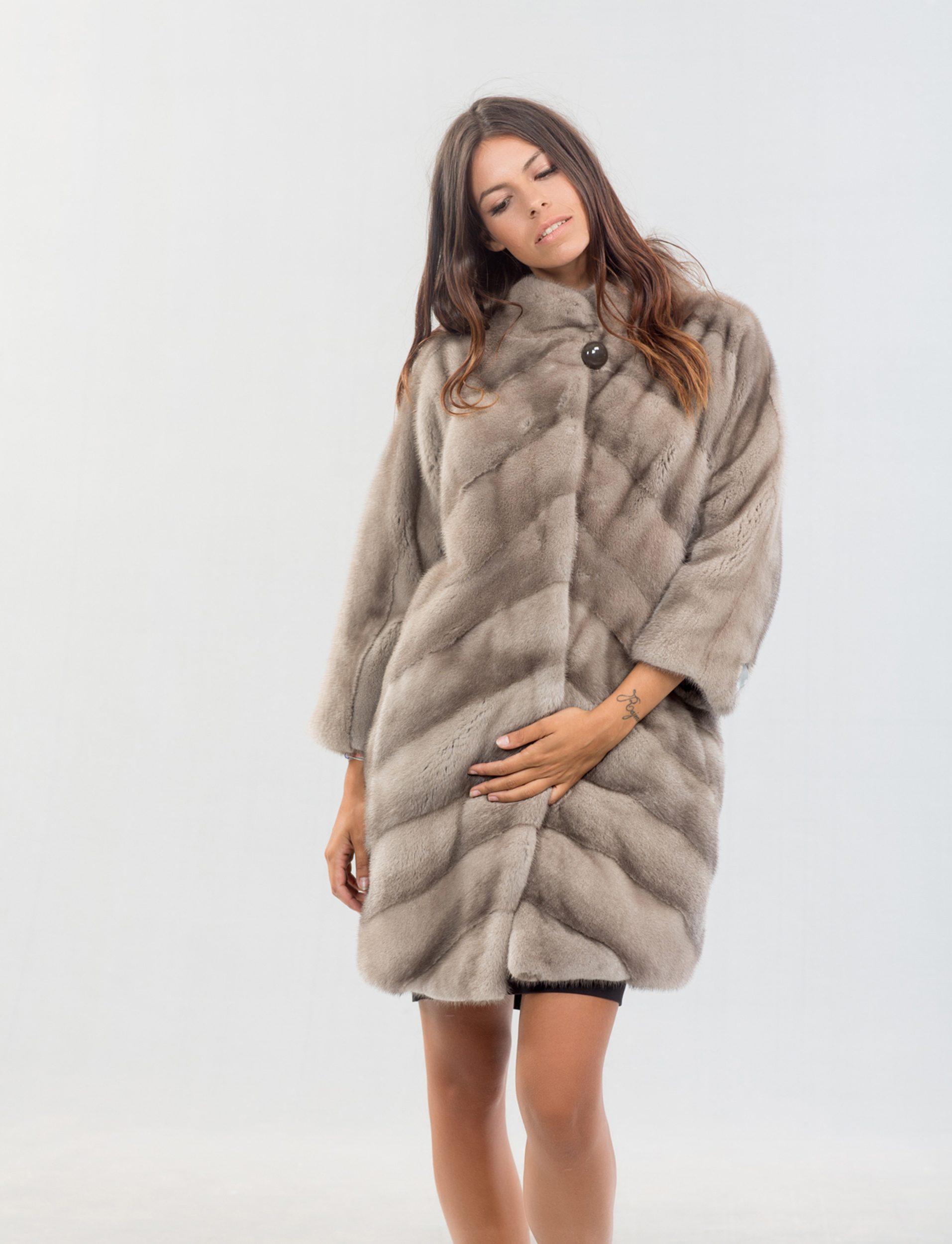 a22ce555c4d74 Silver Gray Mink Fur Coat 100 Real Coats Haute Acorn