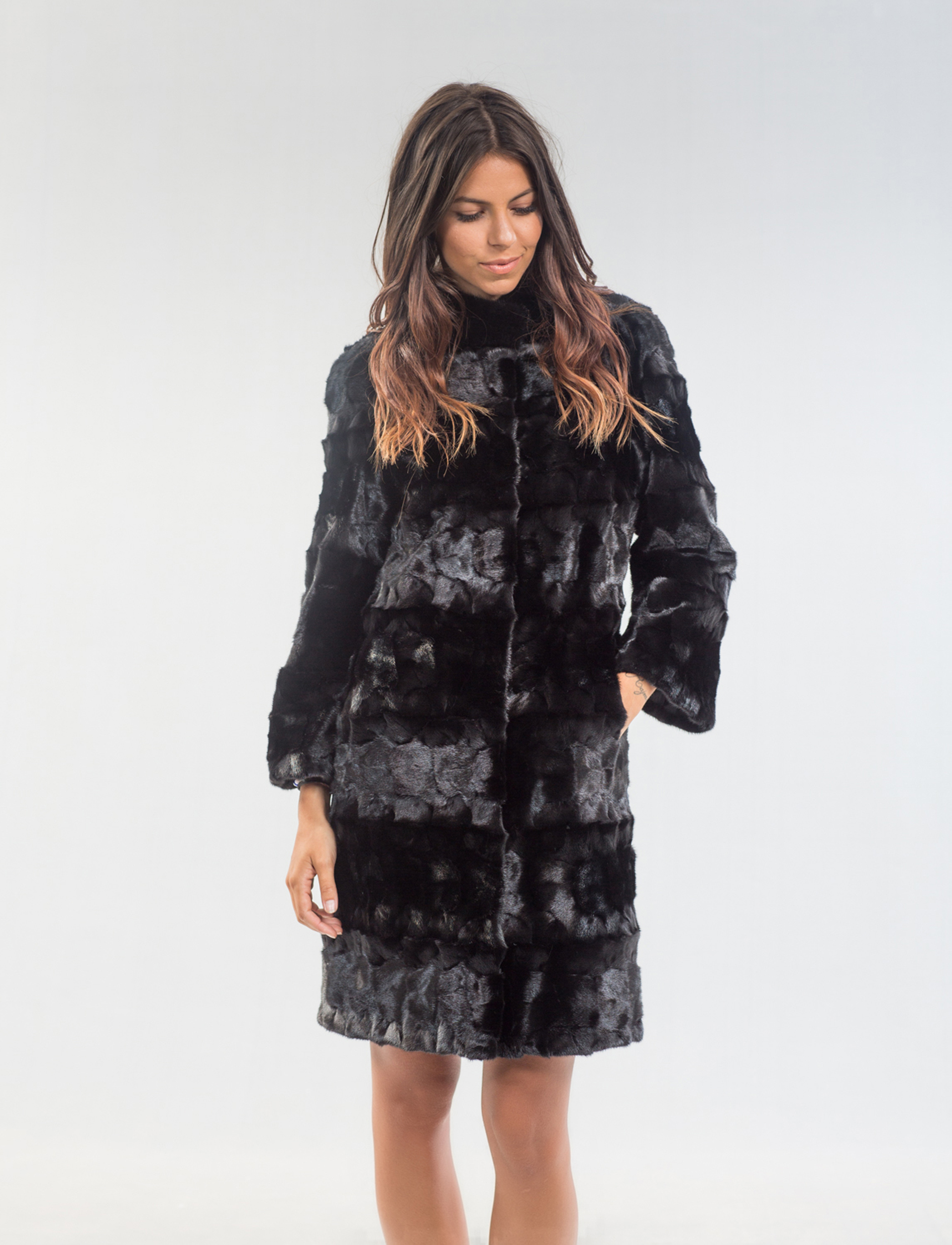 Black Head Mink Fur Coat. 100% Real Fur Coats and Accessories.