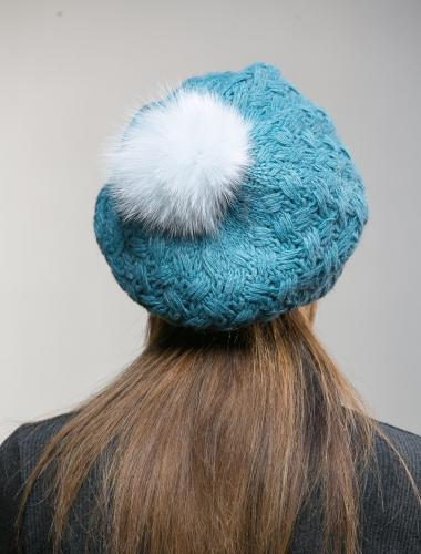 Turquoise Knit Beanie With White Fur Pon