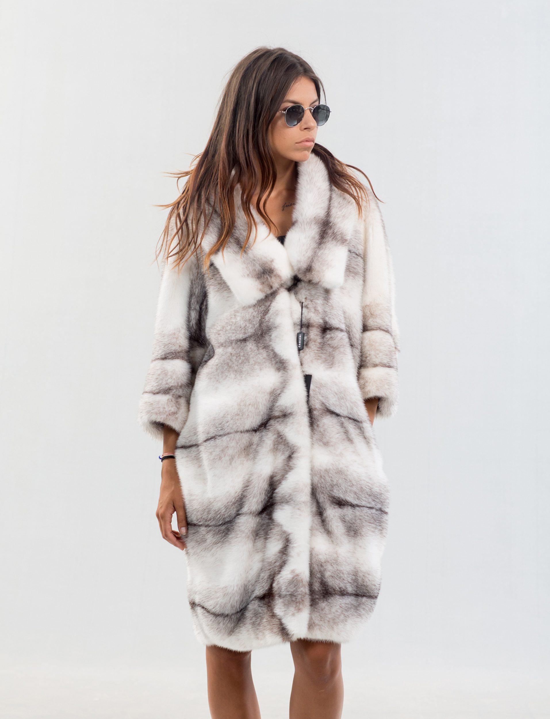 ab534299bd48 Black Cross Mink Fur Coat - 100% Real Fur Coats - Haute Acorn