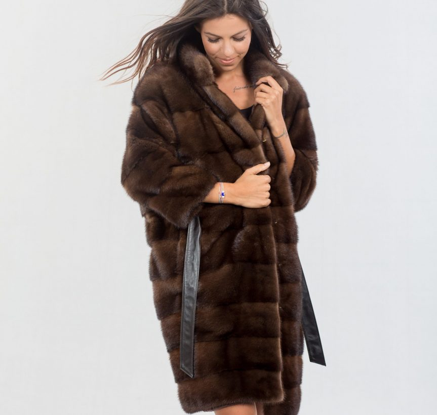 Brown Mink Fur Coat With Belt - Haute Acorn Real Fur Clothing