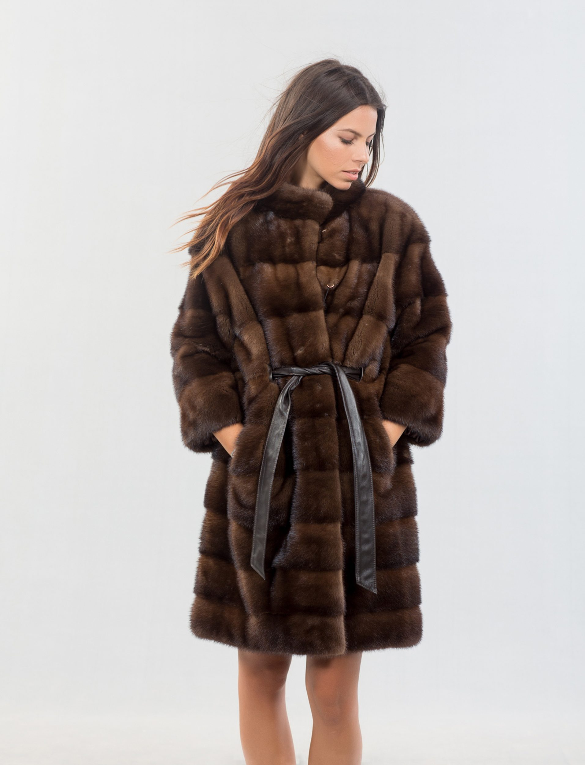 Brown Mink Fur Coat With Belt - 100% Real Fur Coats - Haute Acorn