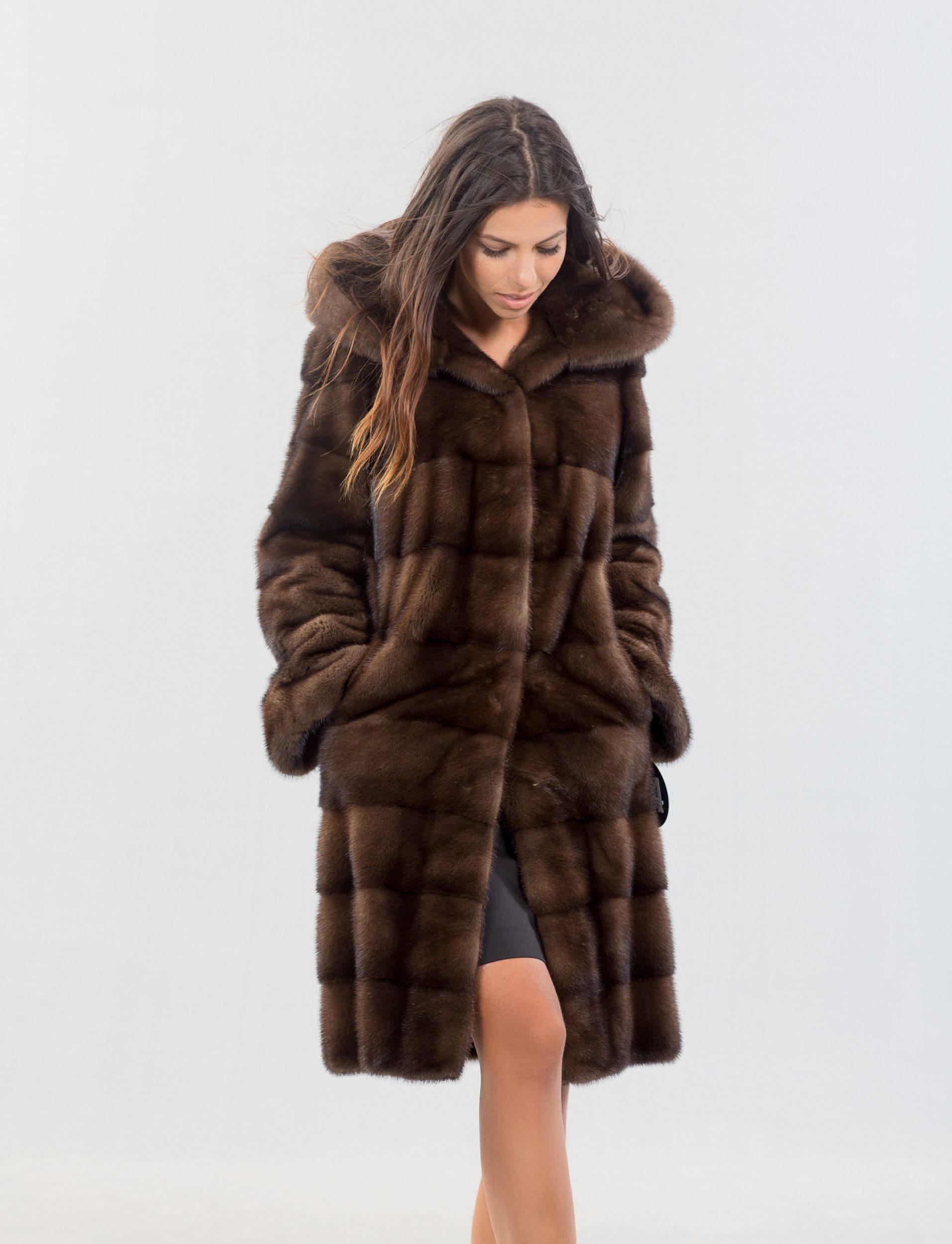 Brown Mink Fur Coat With Hood - 100% Real Fur Coats - Haute Acorn