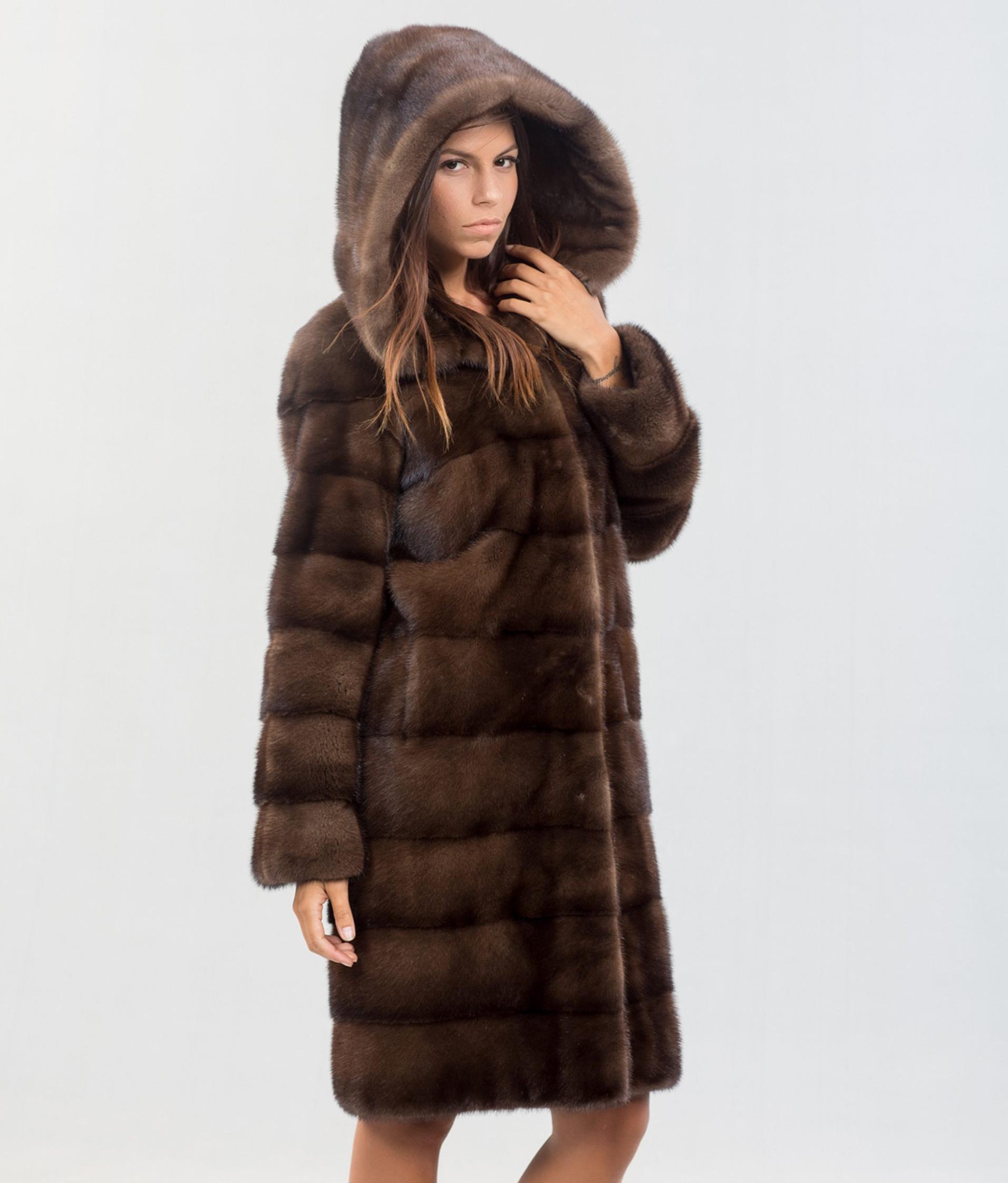 a9db5bfde319 Brown Mink Fur Coat With Hood - 100% Real Fur Coats - Haute Acorn