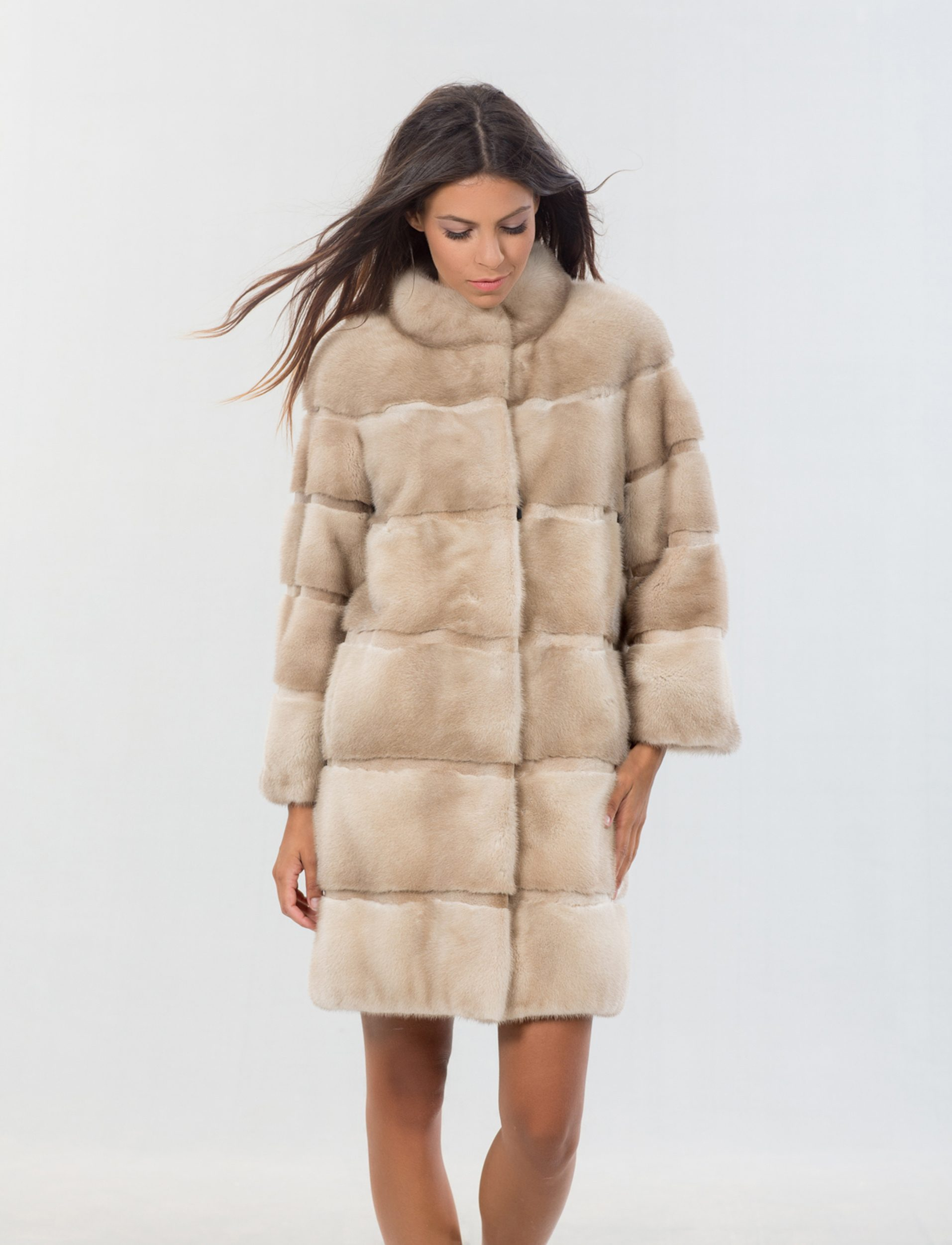beautiful in colour fashion styles search for newest Mink Fur Champagne Long Jacket