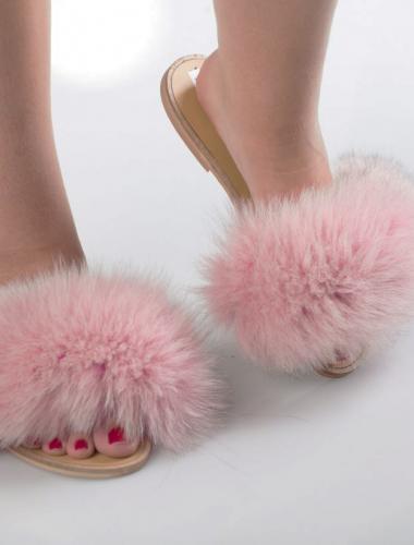 Faded Pink Fox Fur Slides