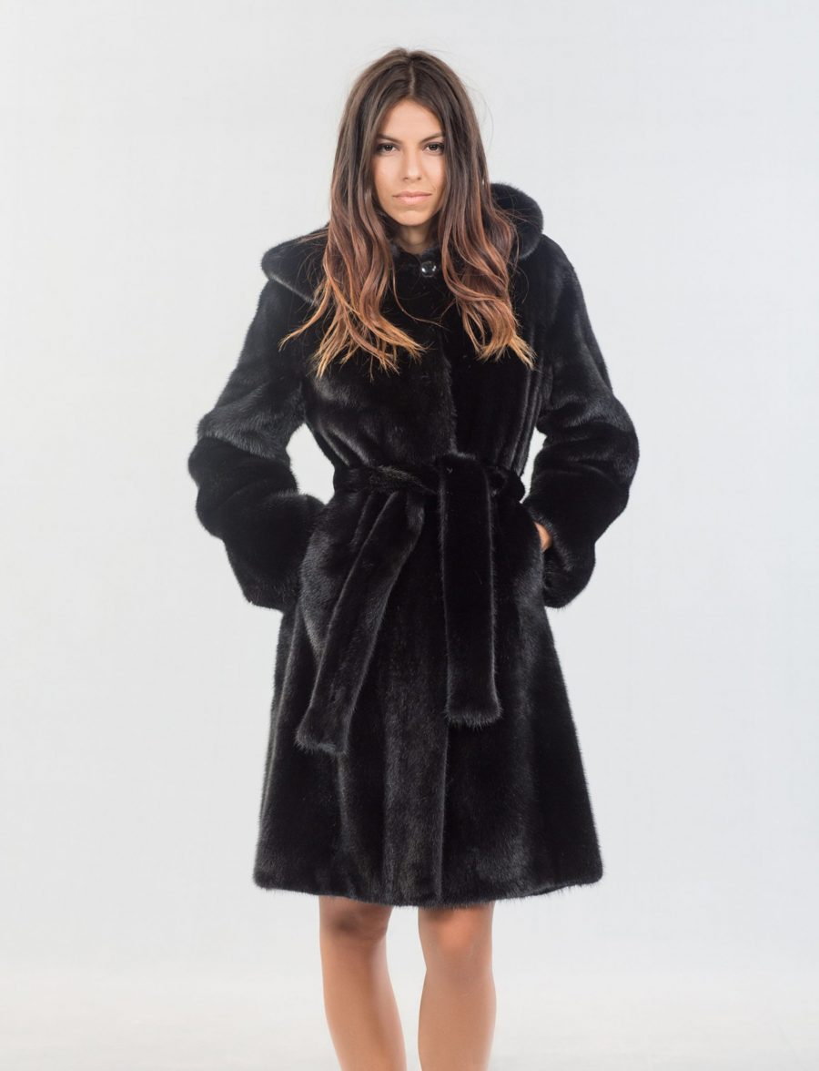 Black Mink Fur Jacket With Hood 100 Real Fur Coats And