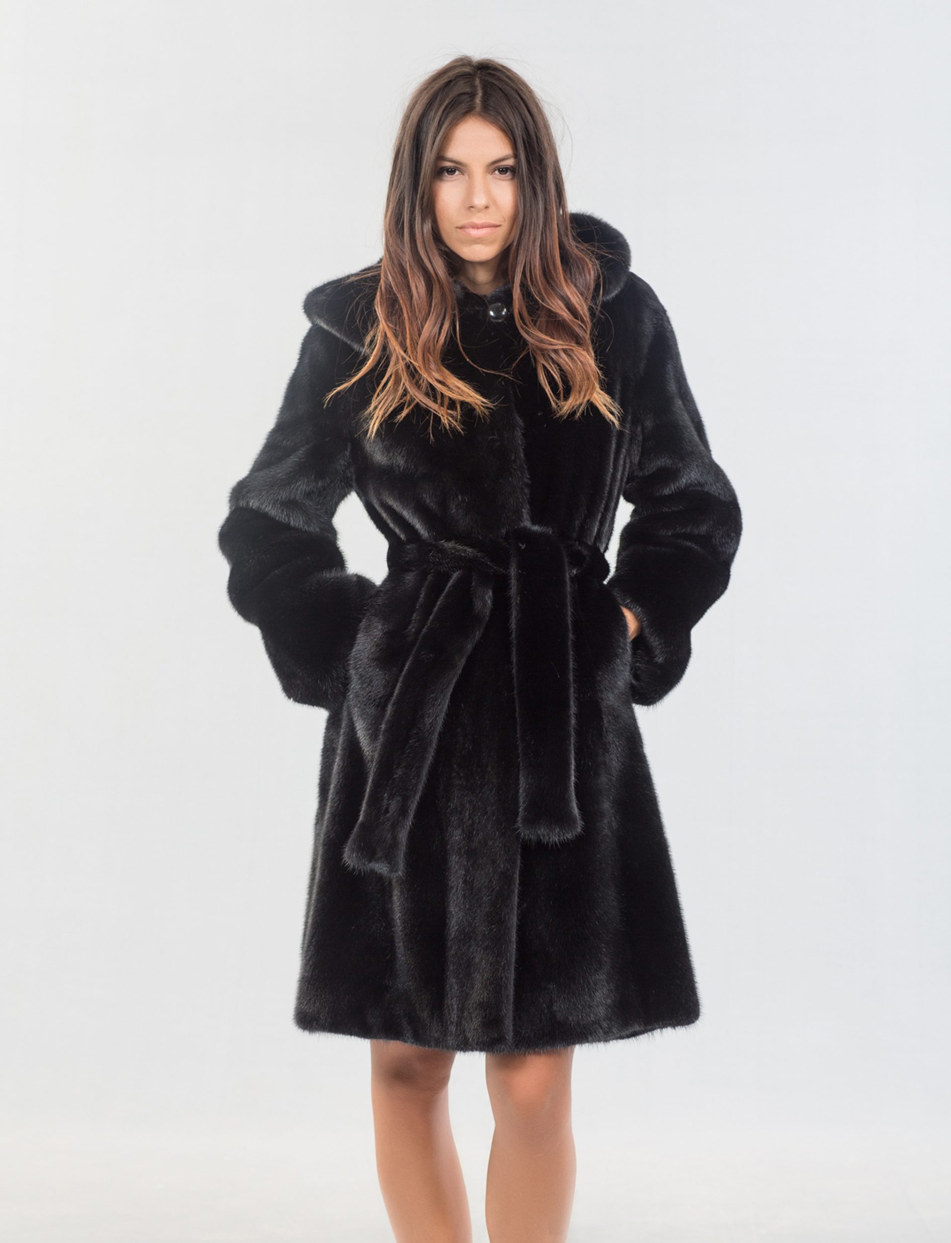 Black Mink Fur Jacket With Hood. 100% Real Fur Coats and Accessories.