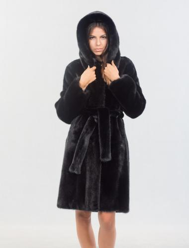 Nafa Velvet Black Mink Fur Jacket With Hood