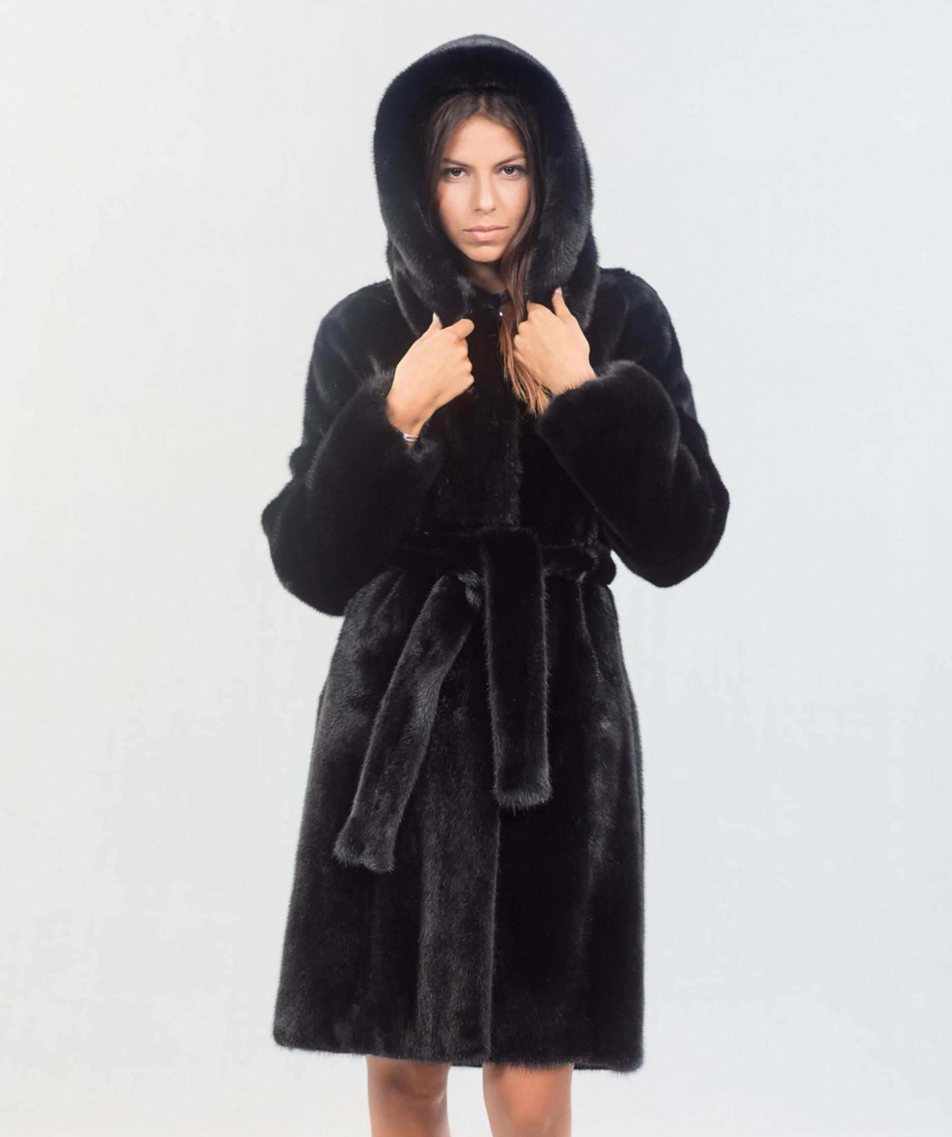 b2255f255e Black Mink Fur Jacket With Hood. 100% Real Fur Coats and Accessories.