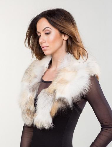 Red and White Fox Fur Collar