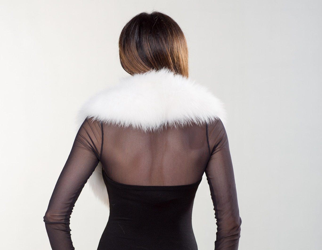 4d41e059f7d8e White Fox Fur Collar I Made of 100% Real Fox Fur