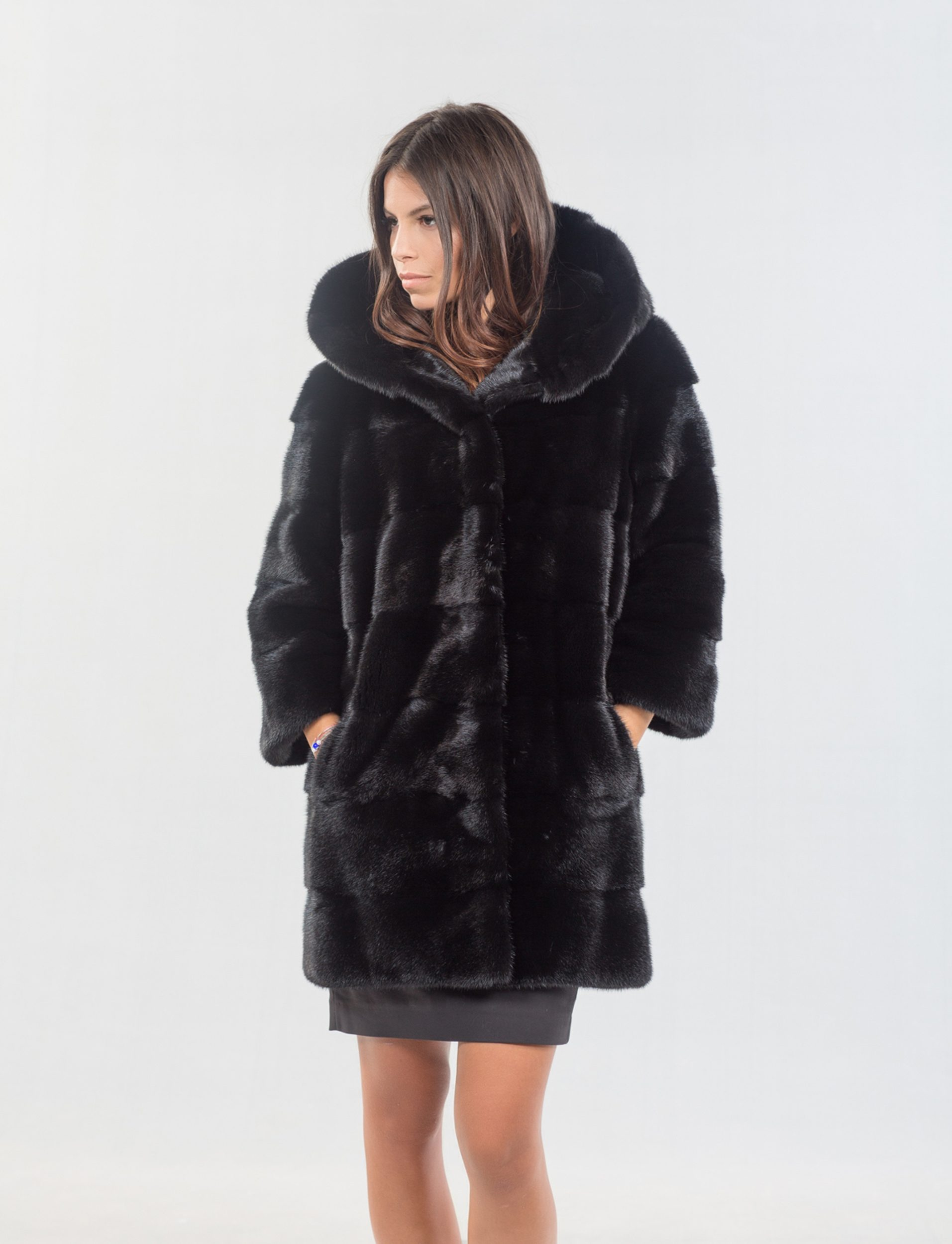 3157ca946a Black Mink Coat With Hood. 100% Real Fur Coats and Accessories.