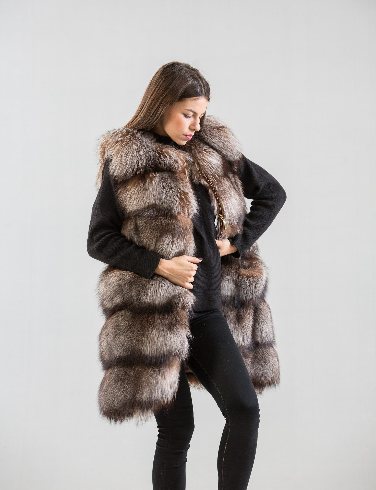 Crystal Fox Fur Vest - Haute Acorn
