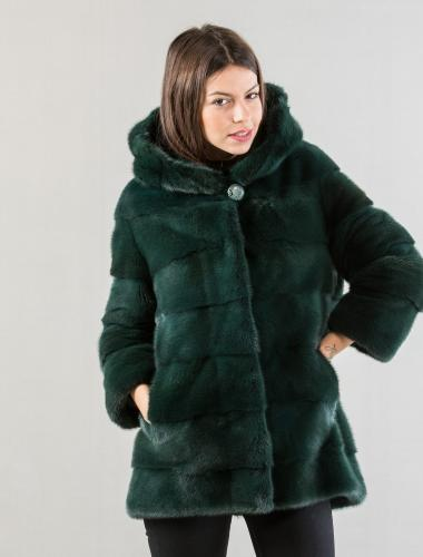 Dark Green Mink Fur Jacket