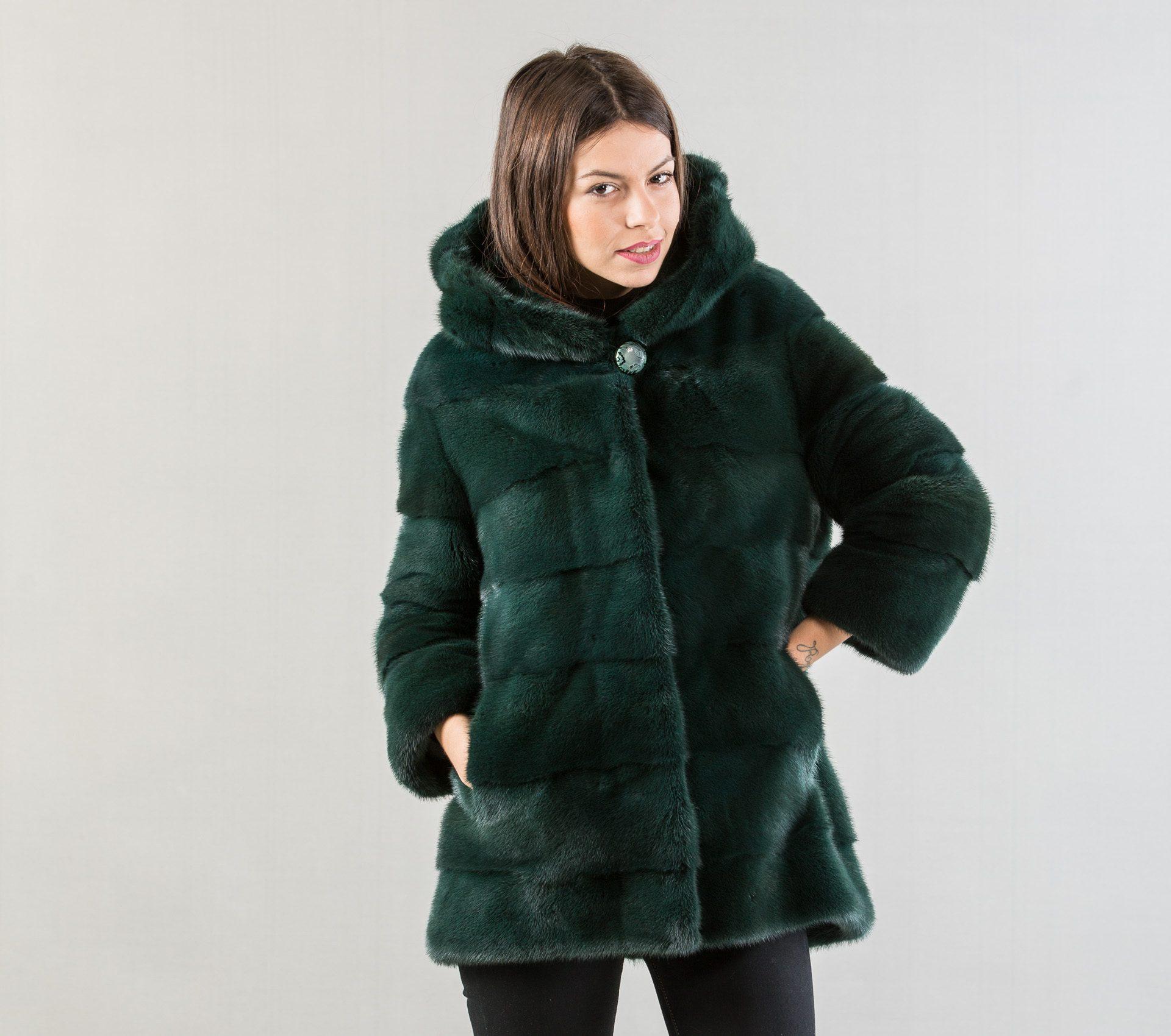 Dark Green Mink Fur Jacket . 100% Real Fur Coats and Accessories.