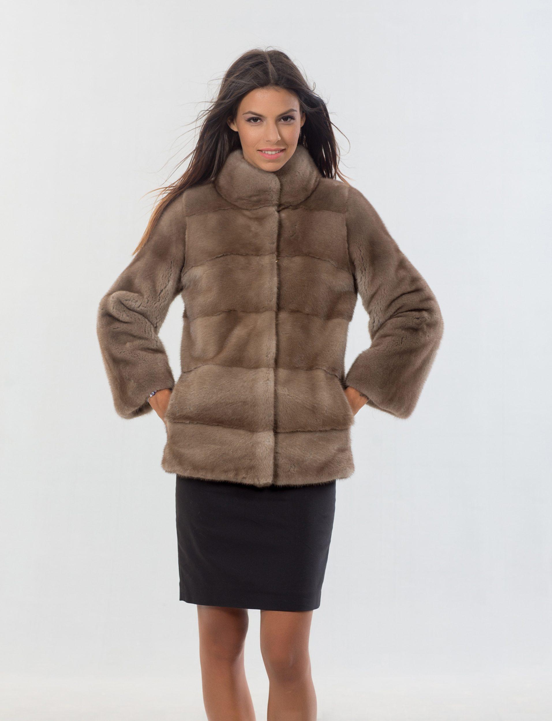 Nafa Mink Pastel Fur Jacket. 100% Real Fur Coats and Accessories.