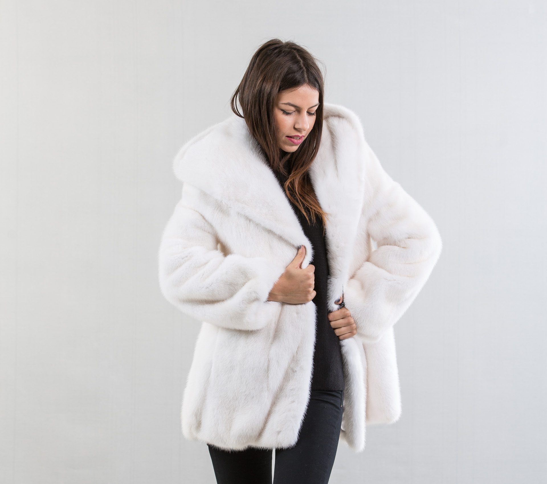 White Mink Fur Coat With Hood - Haute Acorn