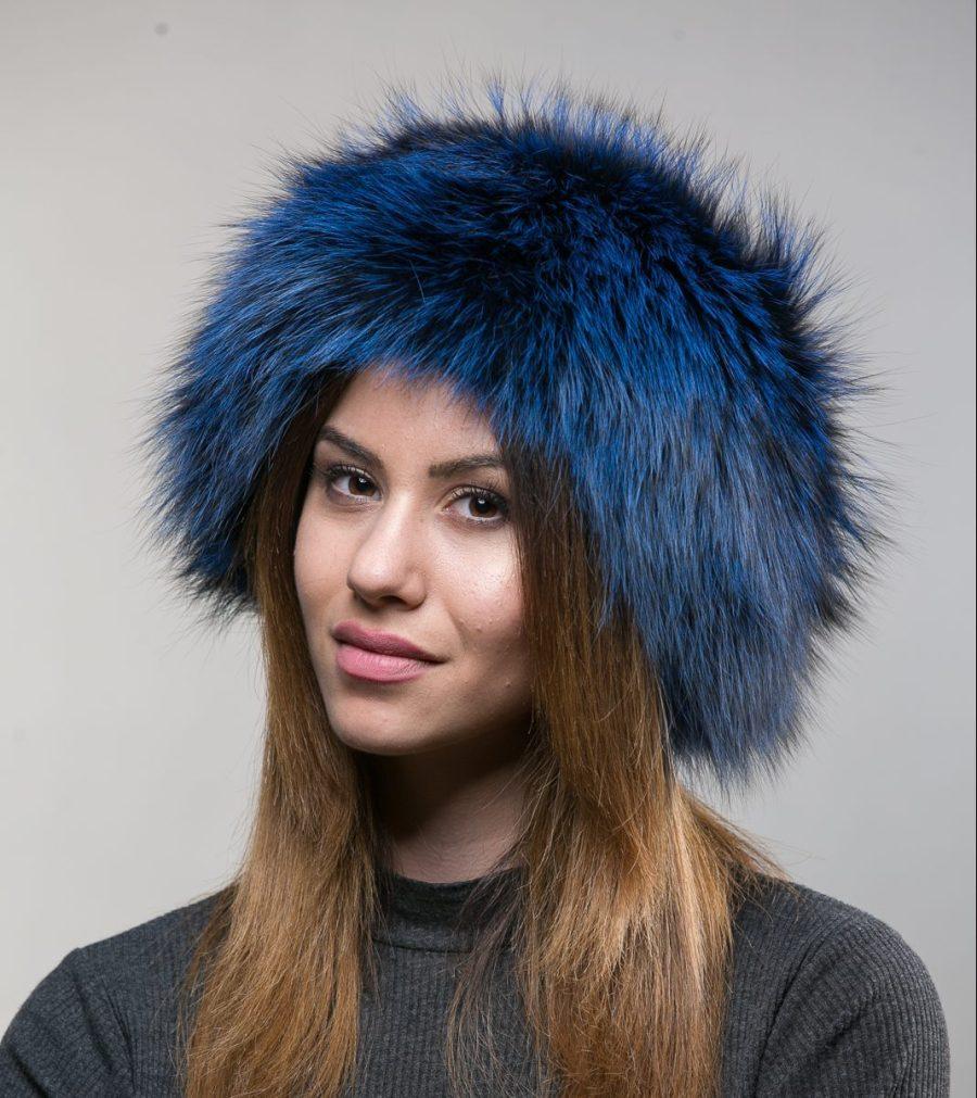 Blue Fox Fur Hat Haute Acorn
