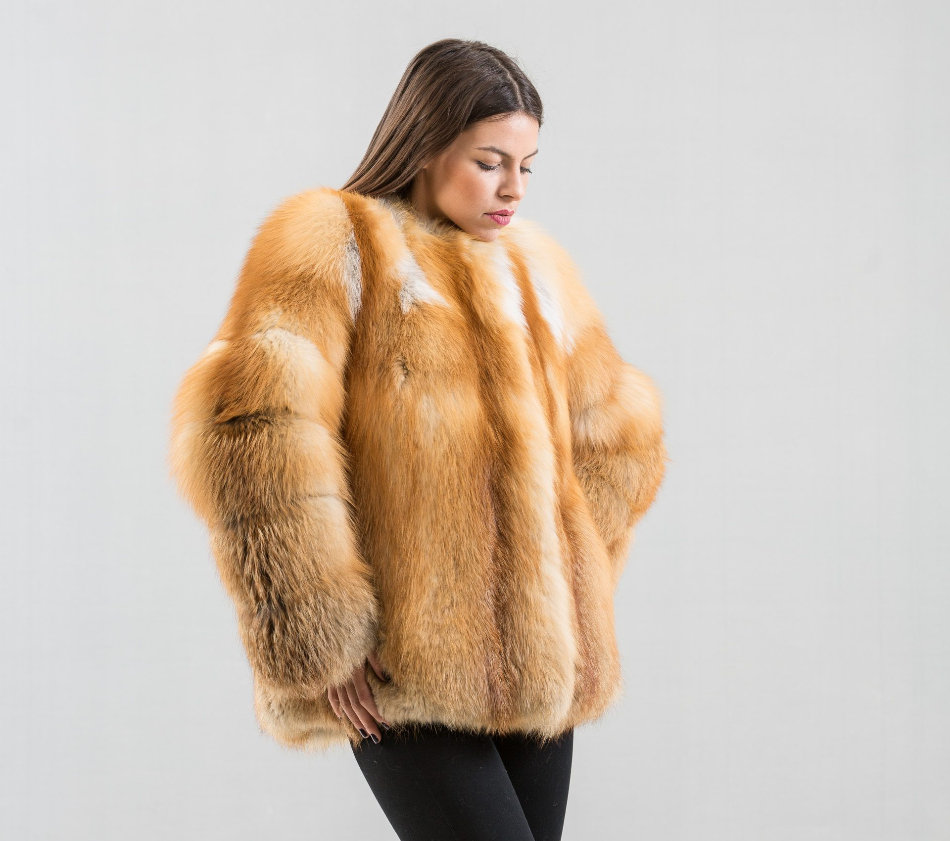 456015685 Red Fox Fur Jacket - Haute Acorn
