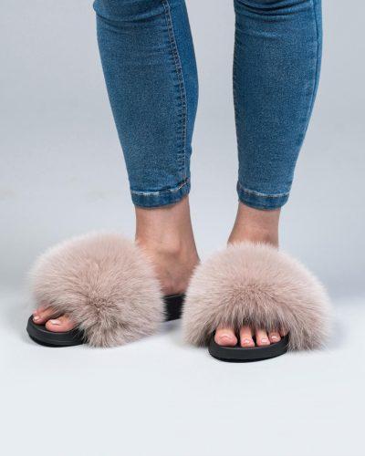 fur slides made of 100 real fur haute acorn