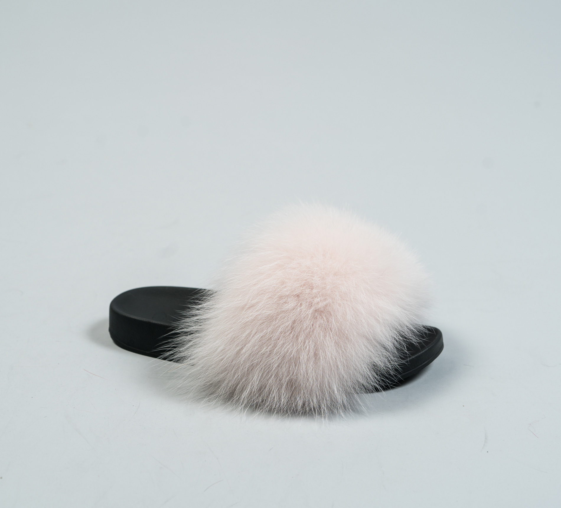 light pink fur slides made of 100 real fur all sizes available