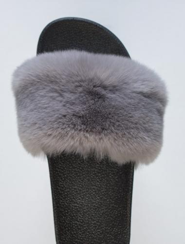 Grey Rabbit Fur Slides