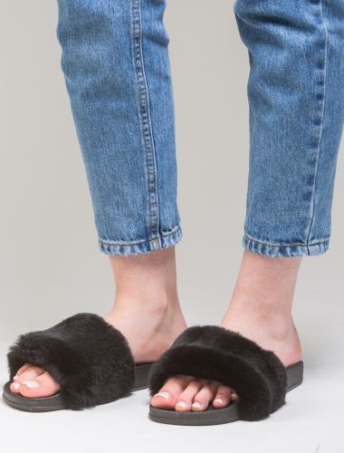 Black Rabbit Fur Slides