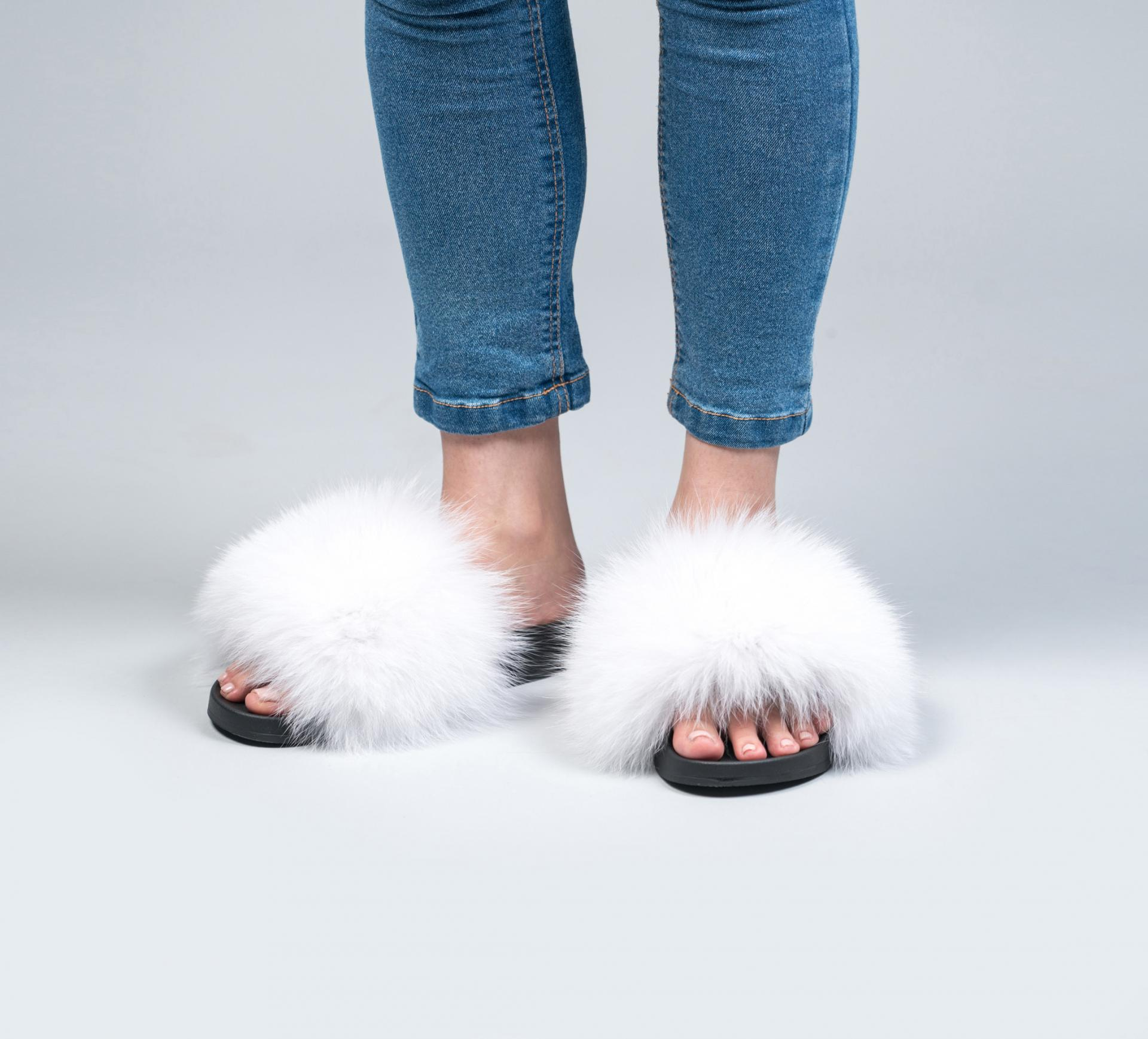 White Fur Slides. Made of 100% Real Fur
