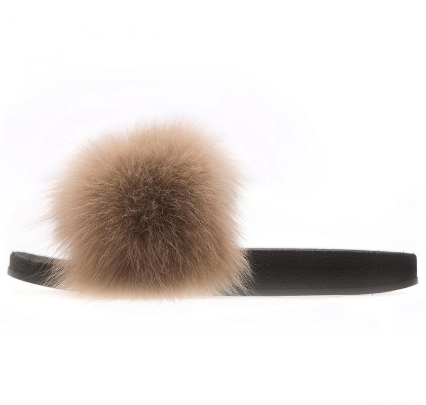 Beige Fox Fur Slides