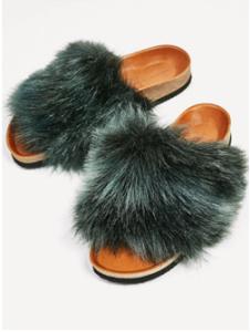 Zara's furry flats