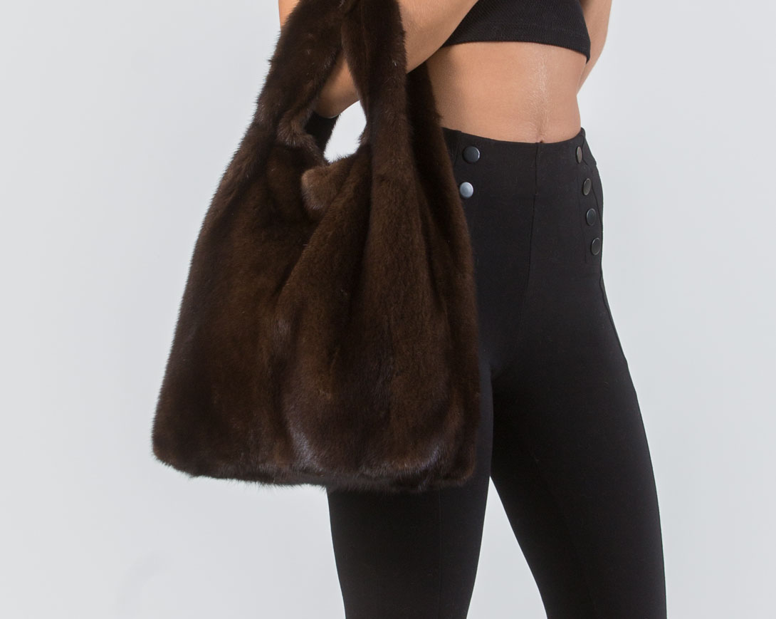 Brown Mink Fur Handbag