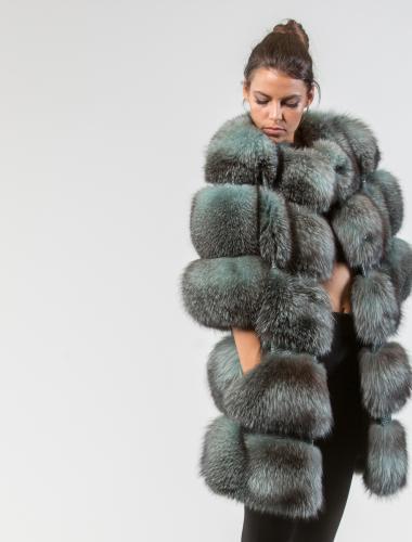 Light Green Fox Fur Jacket